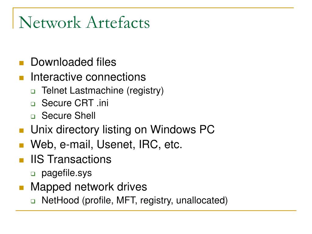 Network Artefacts