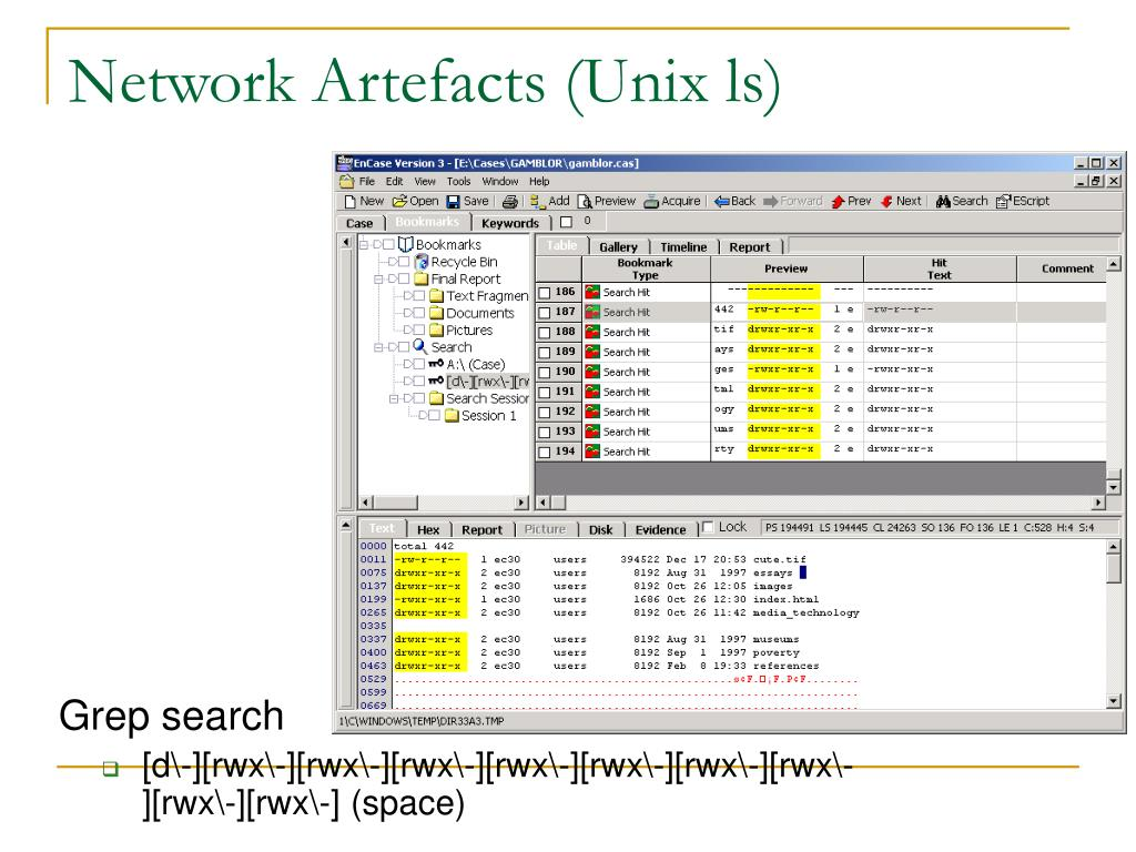 Network Artefacts (Unix ls)