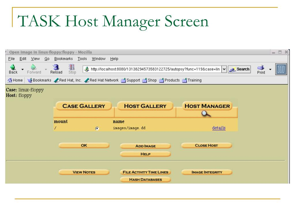 TASK Host Manager Screen