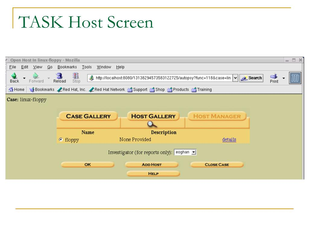TASK Host Screen
