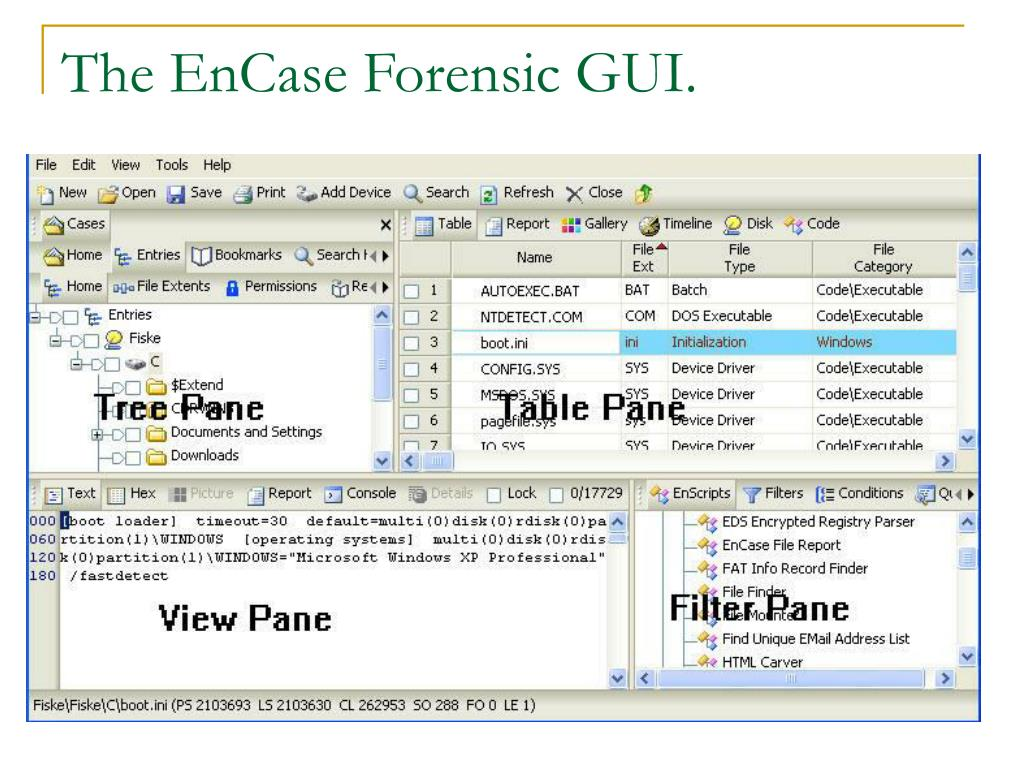 The EnCase Forensic GUI.