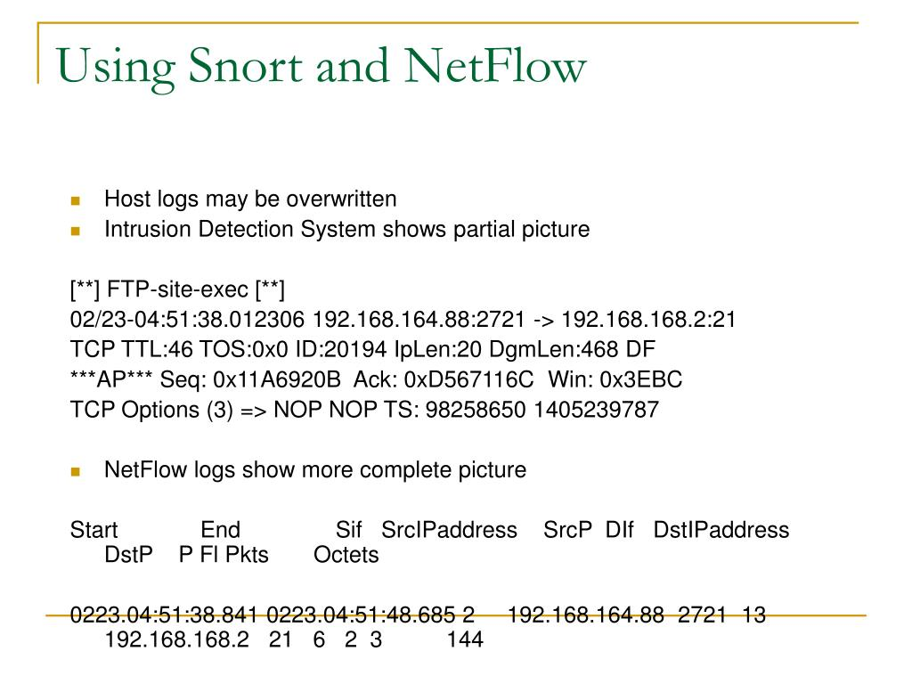 Using Snort and NetFlow