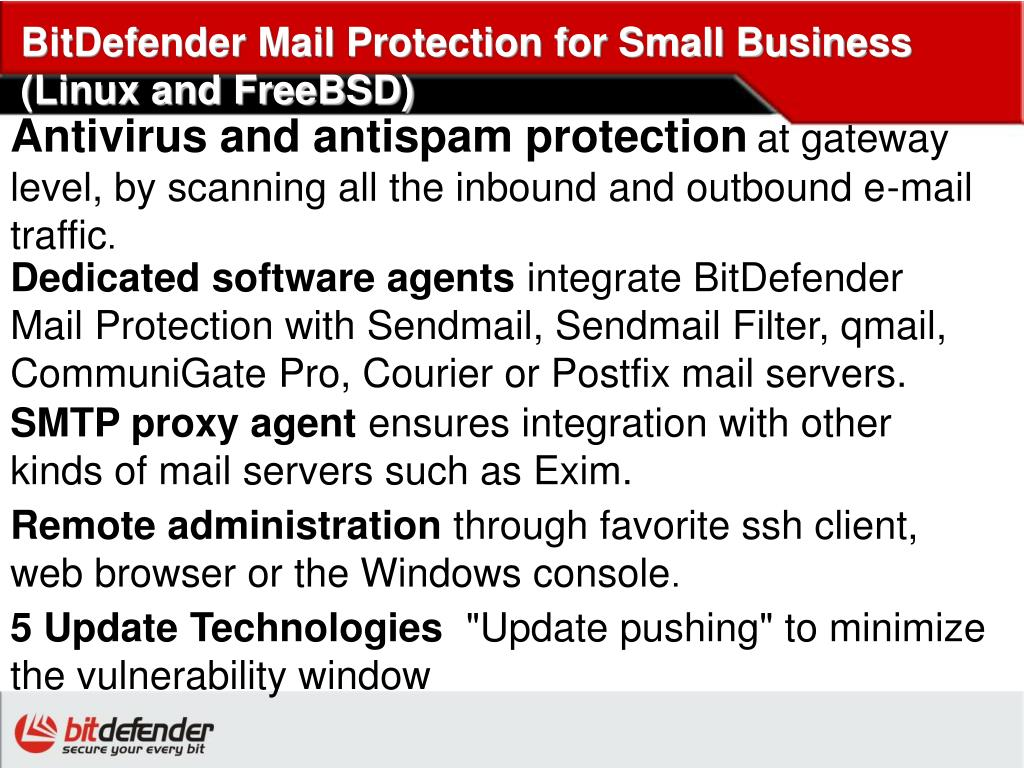 BitDefender Mail Protection for Small Business (Linux and FreeBSD)