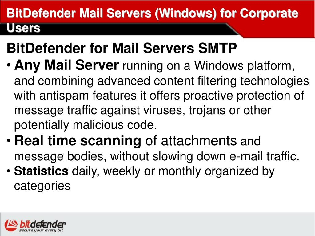 BitDefender Mail Servers (Windows) for Corporate Users