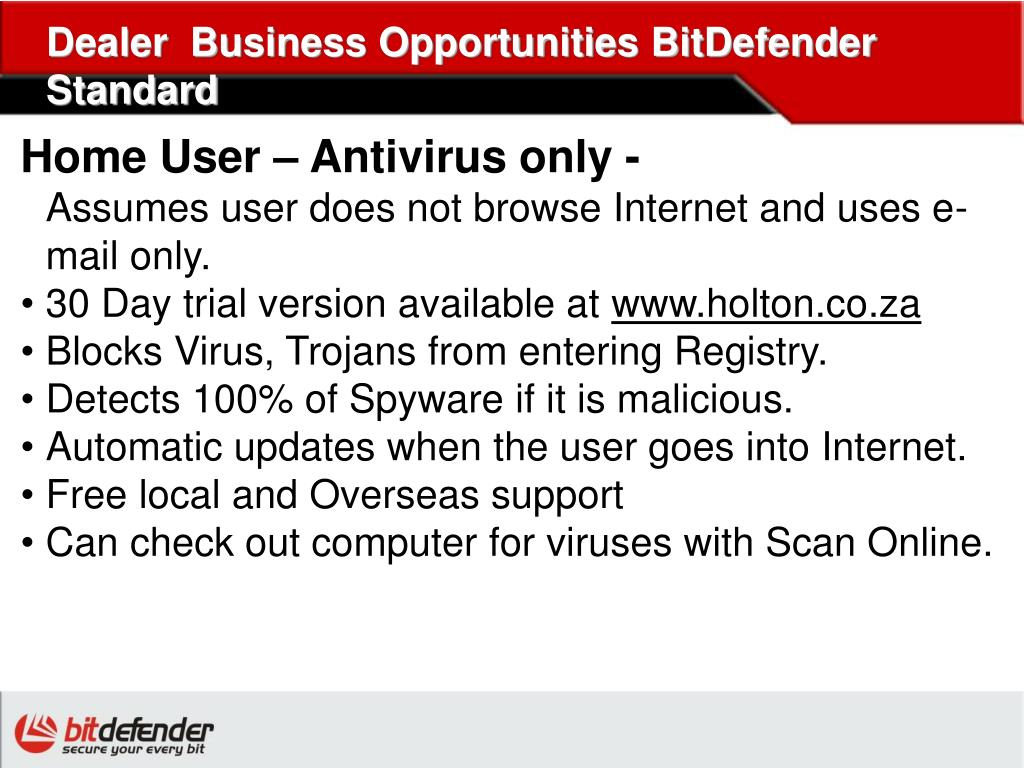 Dealer  Business Opportunities BitDefender Standard
