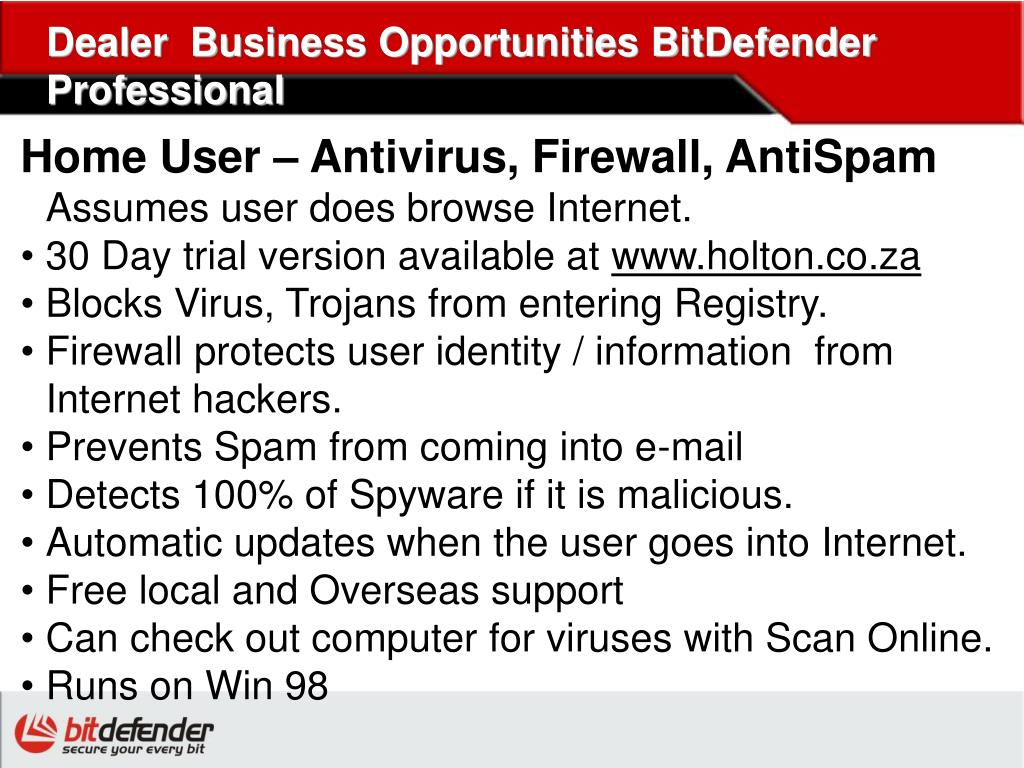 Dealer  Business Opportunities BitDefender Professional