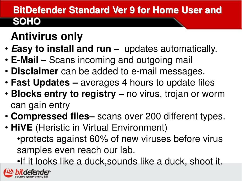 BitDefender Standard Ver 9 for Home User and SOHO