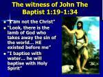 the witness of john the baptist 1 19 1 34