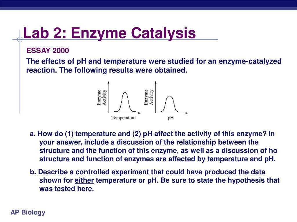 ap bio lab 2 enzyme Ap biology lab 2 enzyme catalysis introduction enzymes catalyze reactions by lowering the activation energy necessary for a reaction to occur in this laboratory, you will study some of the basic principles of molecuar movement in solution and perform a series of activities to investigate these processes.
