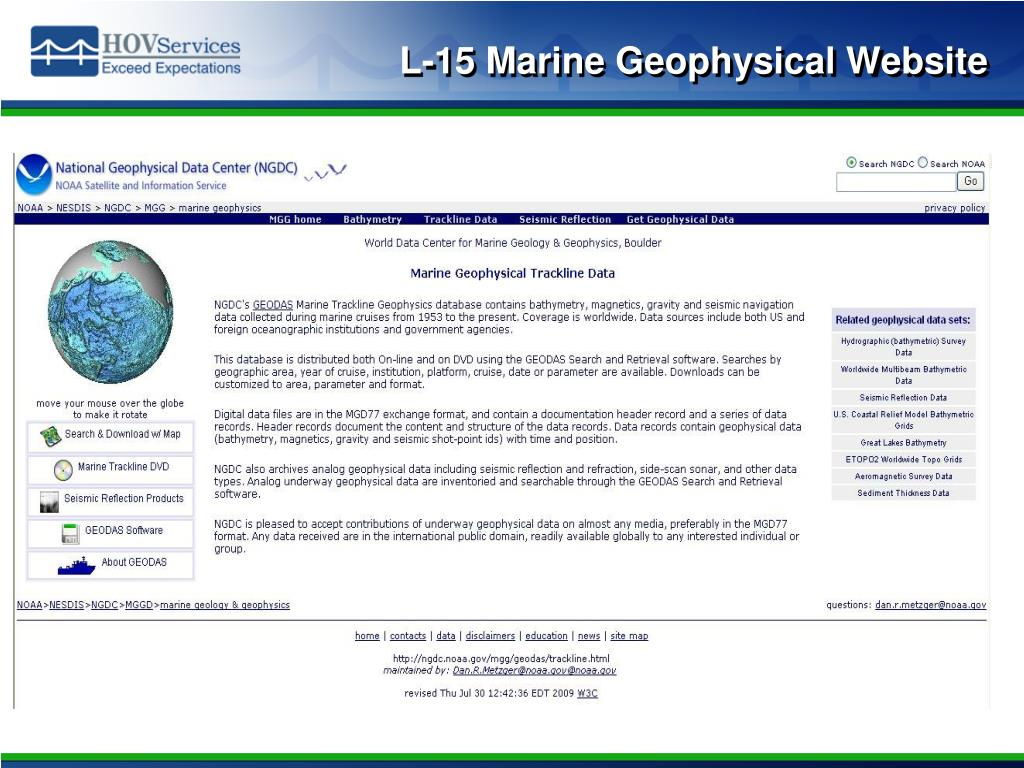 L-15 Marine Geophysical Website