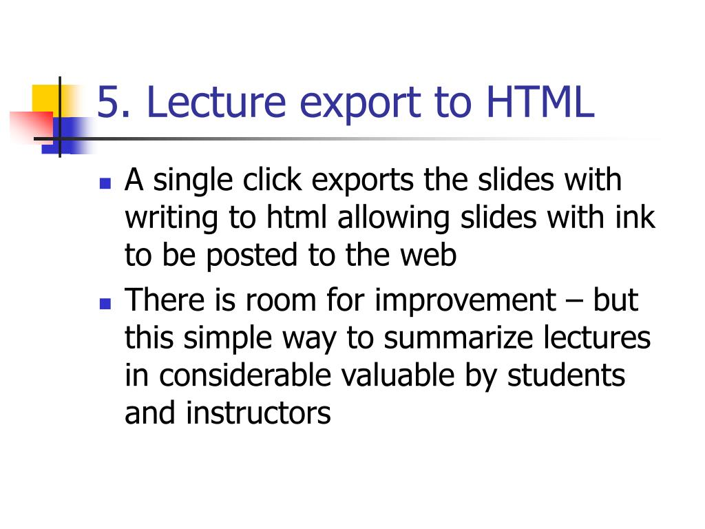 5. Lecture export to HTML