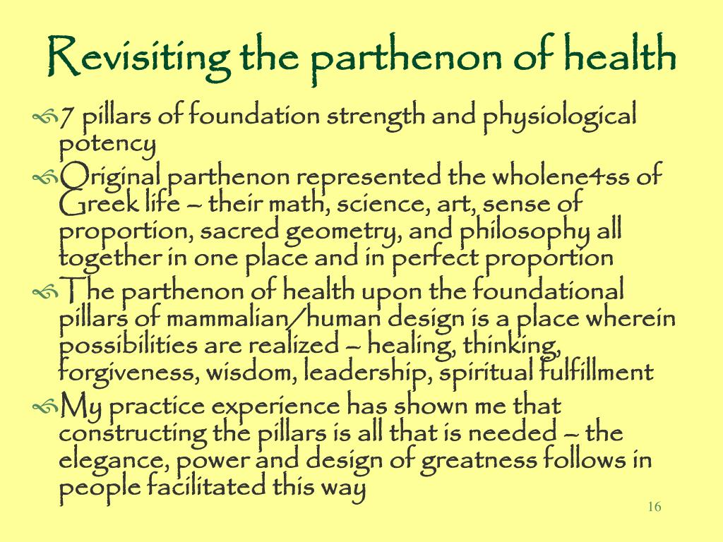Revisiting the parthenon of health