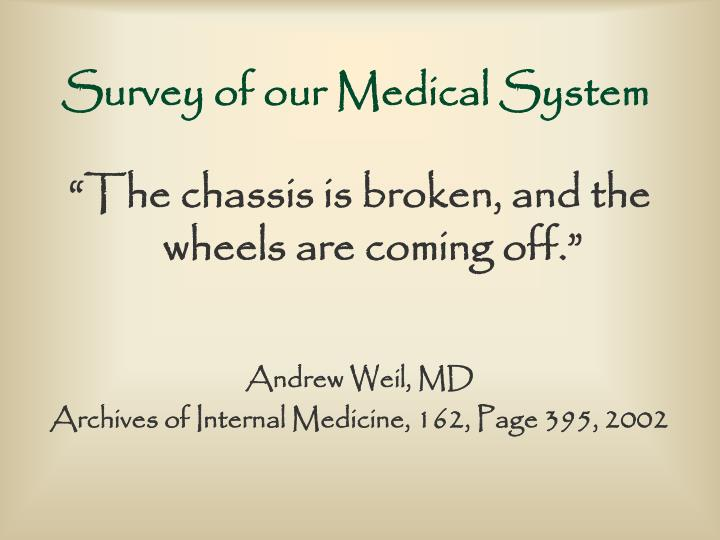 Survey of our medical system