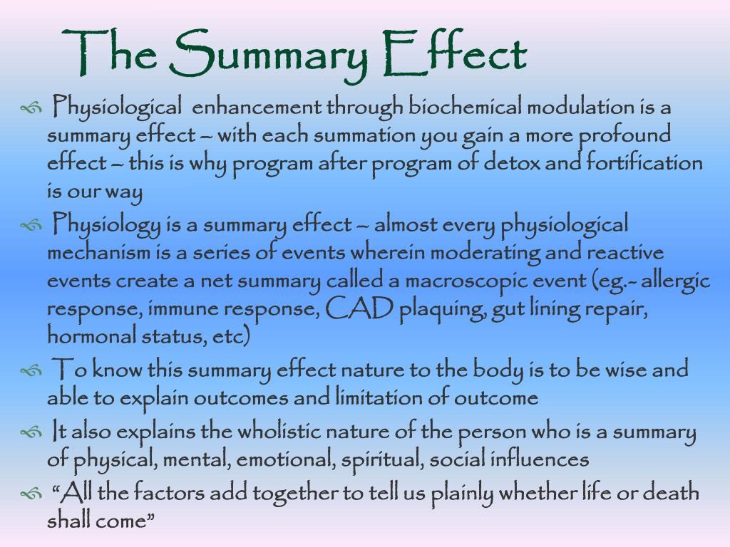 The Summary Effect