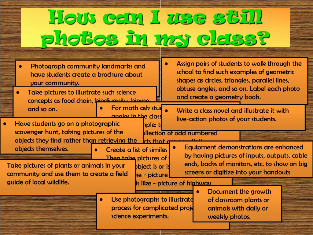 How can I use still photos in my class?