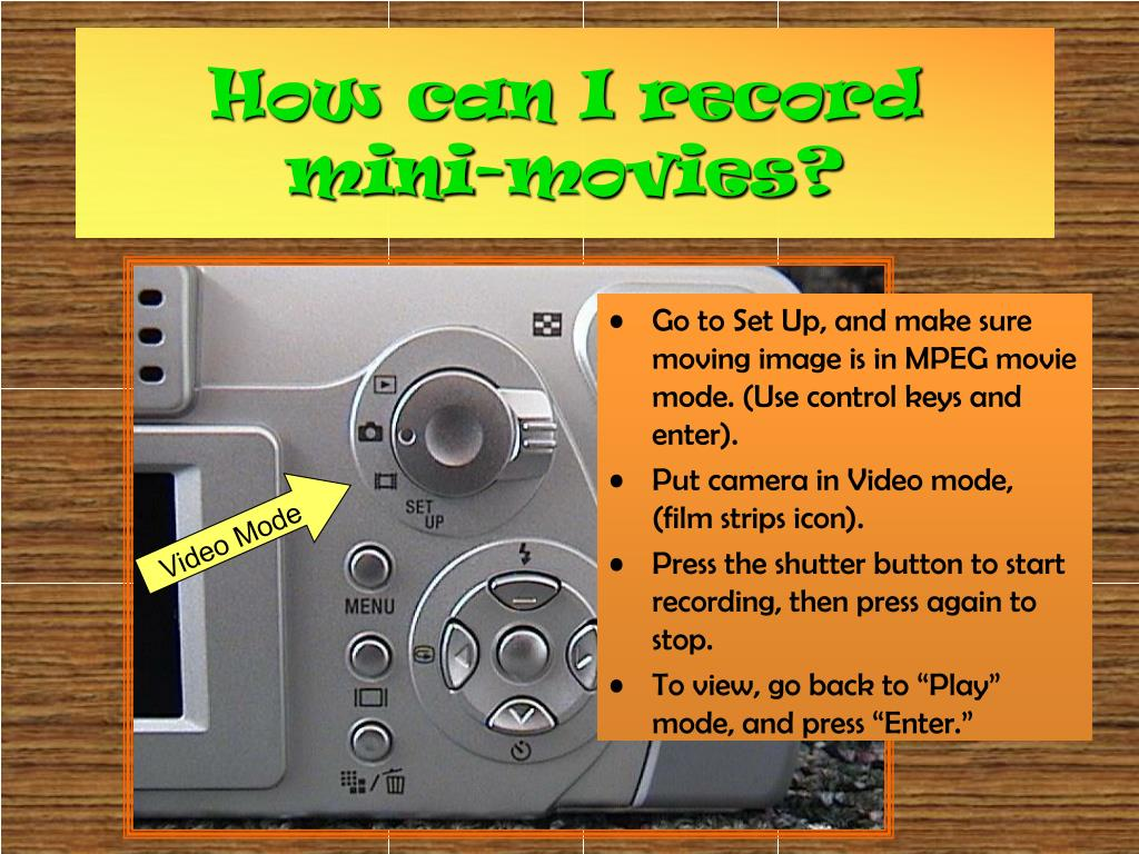 Go to Set Up, and make sure moving image is in MPEG movie mode. (Use control keys and enter).