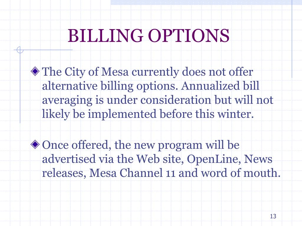 BILLING OPTIONS