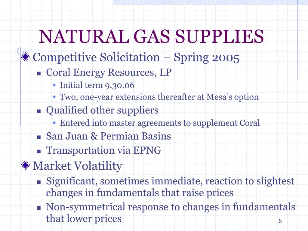 NATURAL GAS SUPPLIES