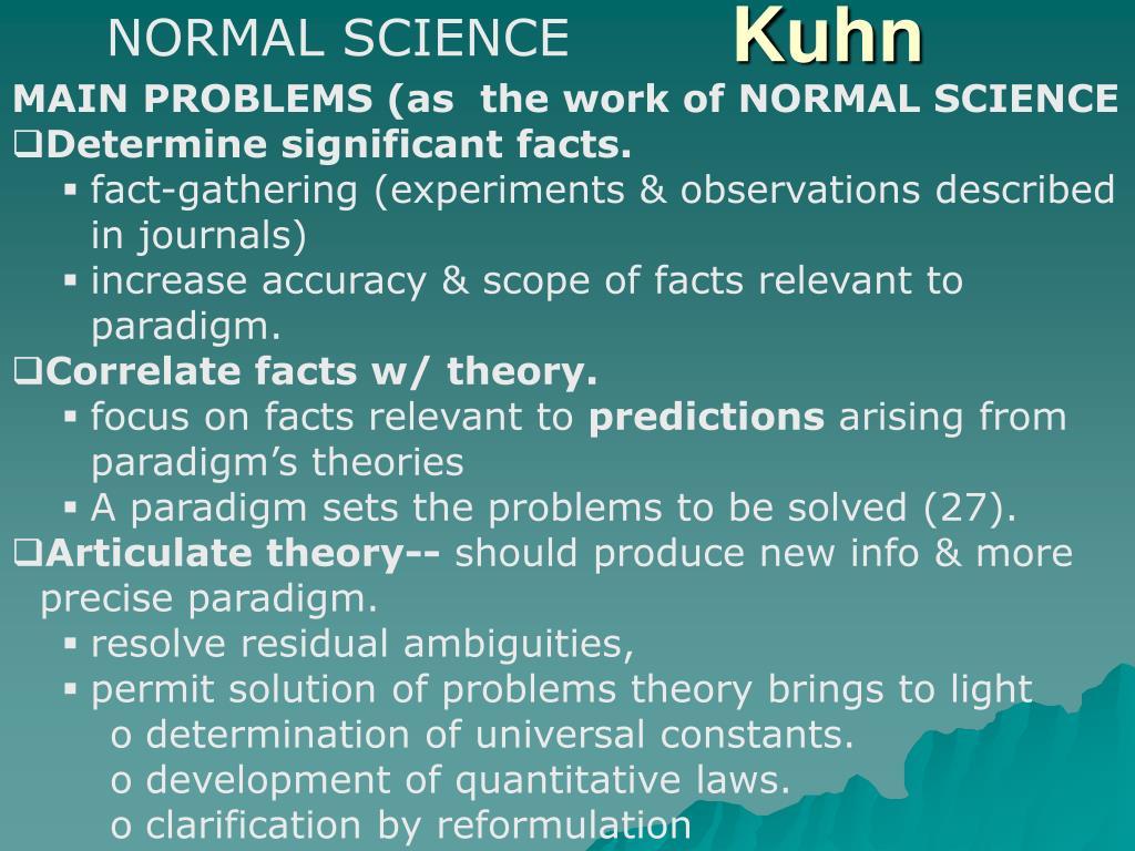 NORMAL SCIENCE