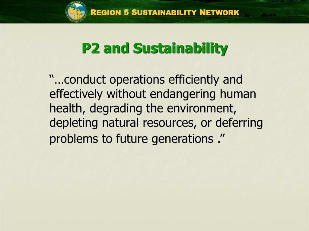 P2 and Sustainability