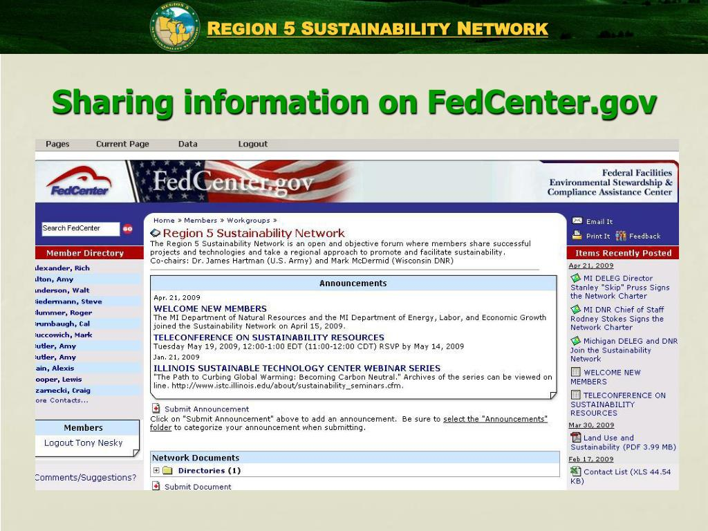Sharing information on FedCenter.gov