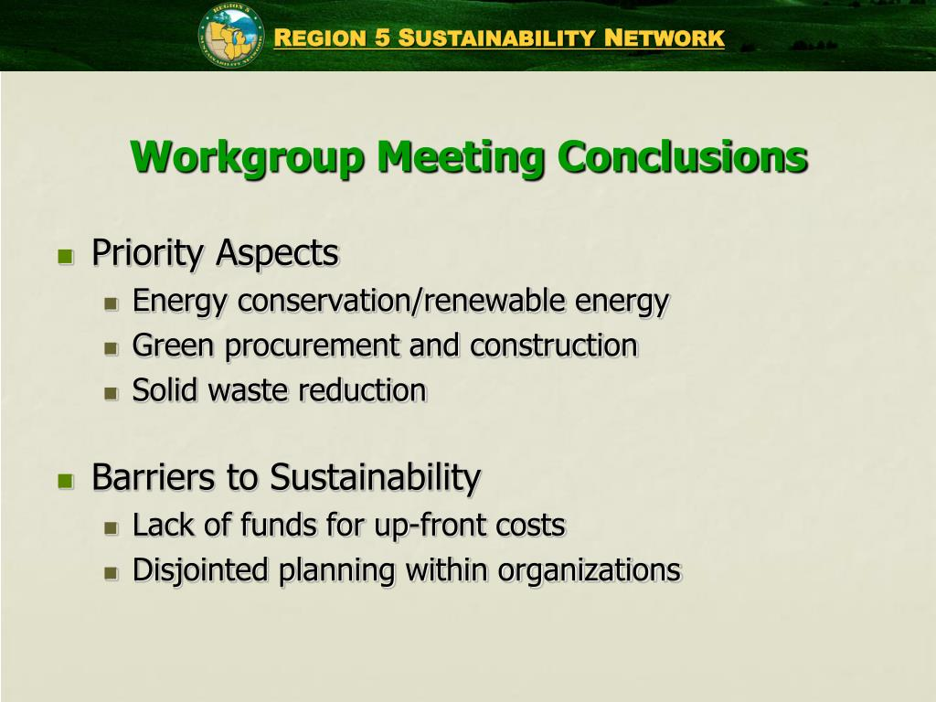 Workgroup Meeting Conclusions