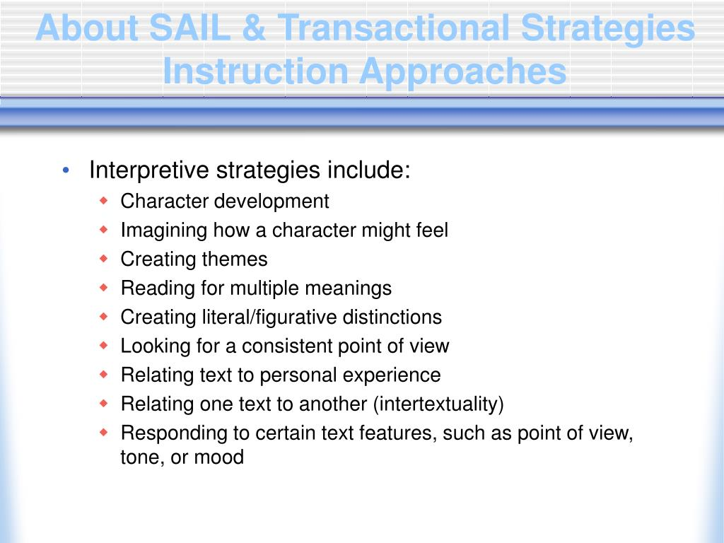 About SAIL & Transactional Strategies Instruction Approaches