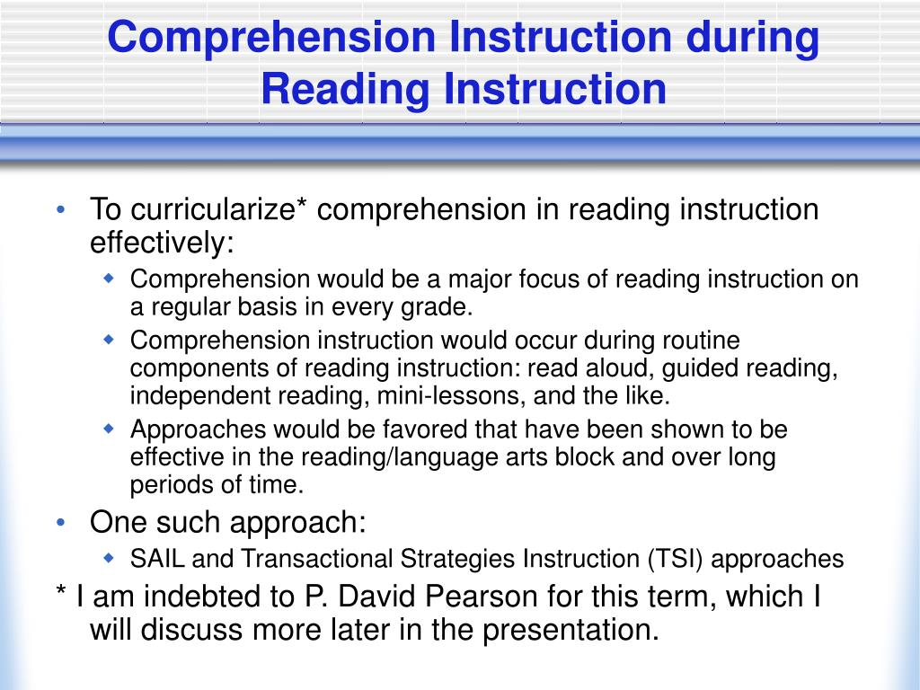 Comprehension Instruction during Reading Instruction