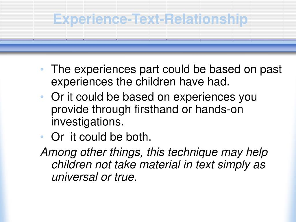 Experience-Text-Relationship