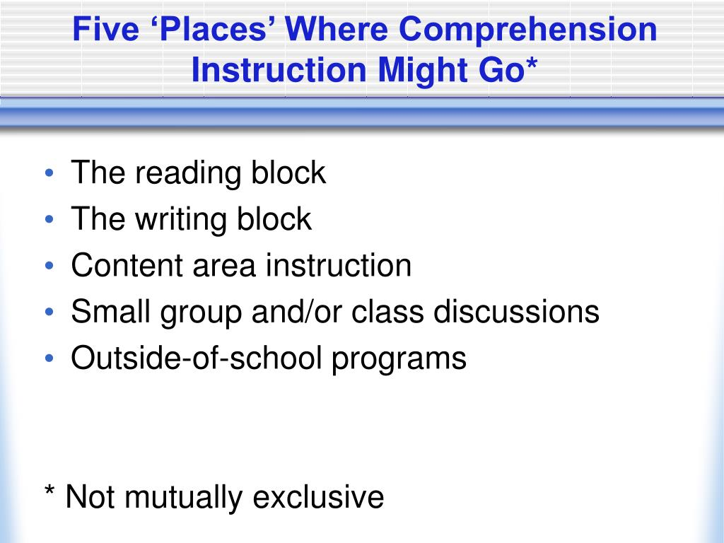 Five 'Places' Where Comprehension Instruction Might Go*
