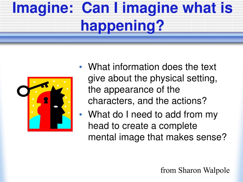 Imagine:  Can I imagine what is happening?