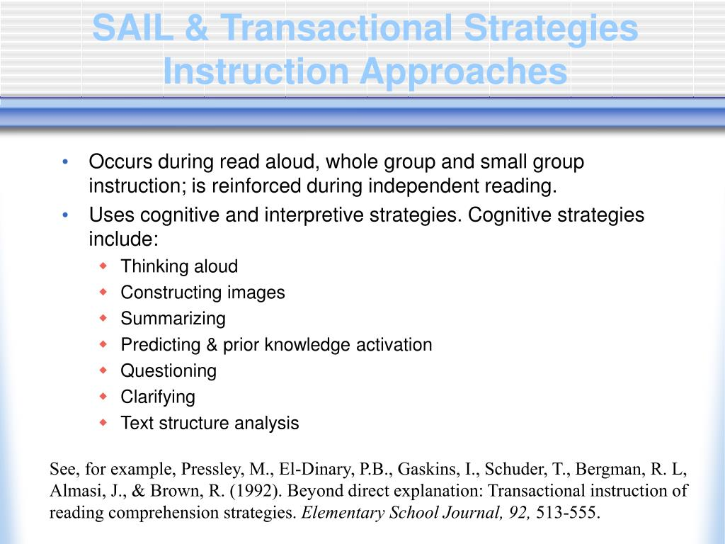 SAIL & Transactional Strategies Instruction Approaches
