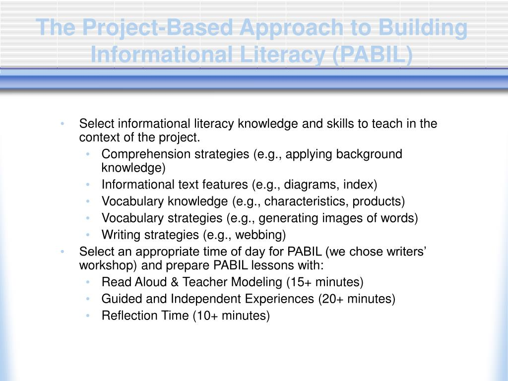 The Project-Based Approach to Building Informational Literacy (PABIL)