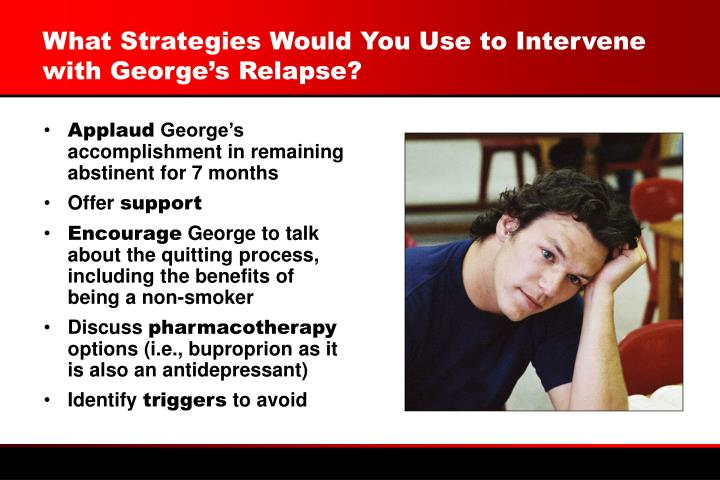 What Strategies Would You Use to Intervene with George's Relapse?