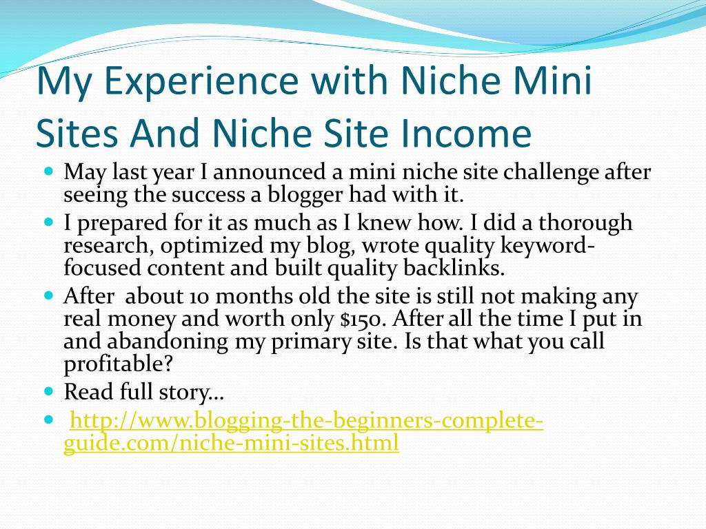 My Experience with Niche Mini Sites And Niche Site Income
