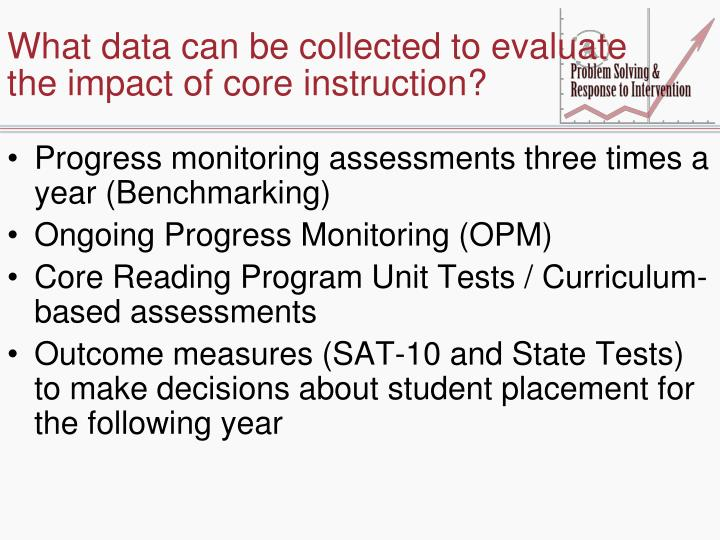 What data can be collected to evaluate the impact of core instruction?