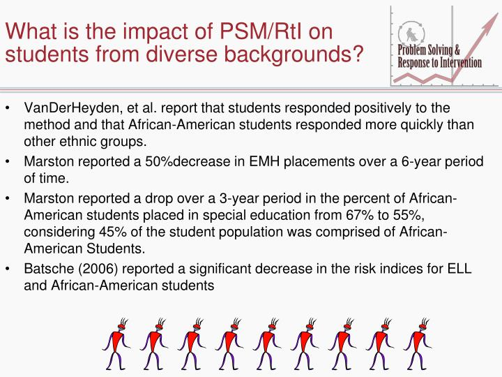 What is the impact of PSM/RtI on students from diverse backgrounds?