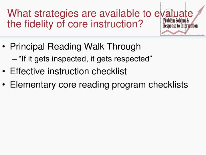 What strategies are available to evaluate the fidelity of core instruction?