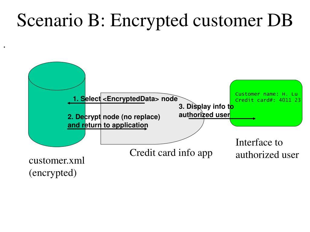 Scenario B: Encrypted customer DB