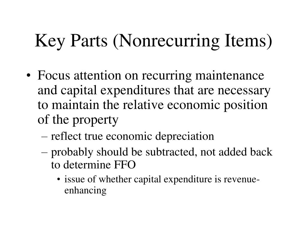 Key Parts (Nonrecurring Items)