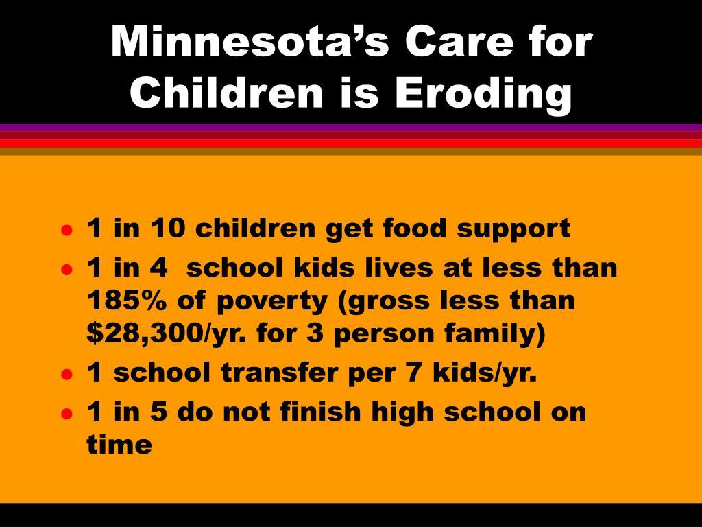 Minnesota's Care for Children is Eroding