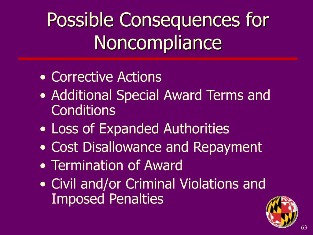 Possible Consequences for Noncompliance