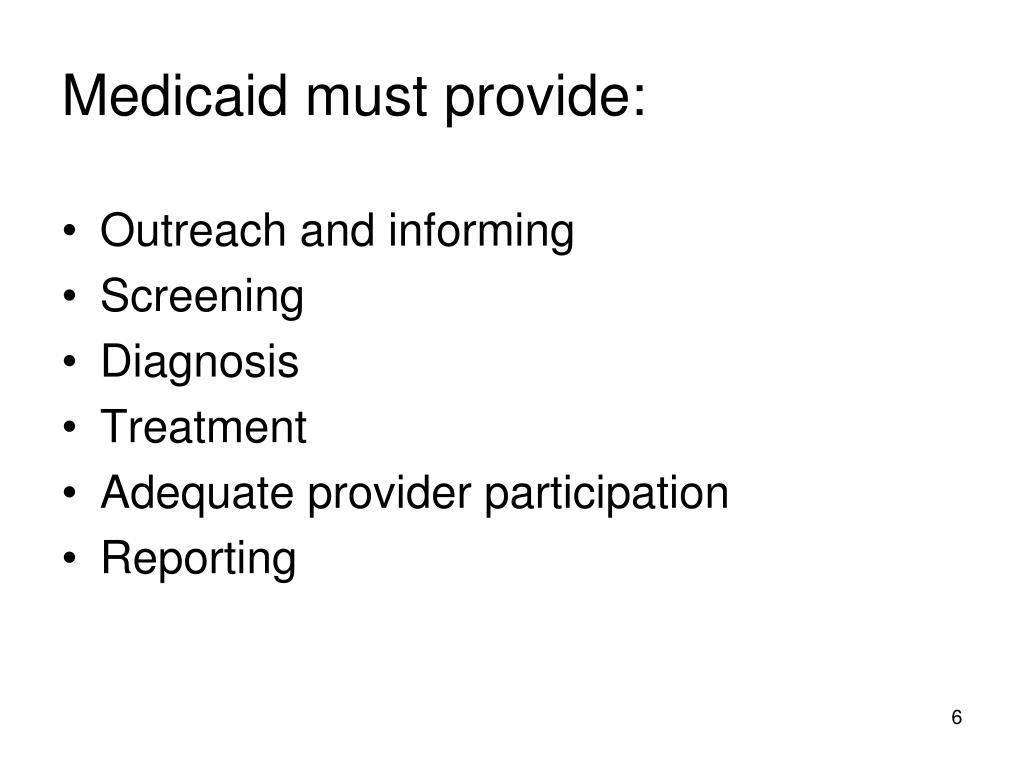 Medicaid must provide: