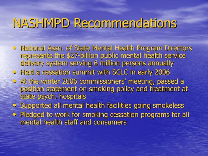 NASHMPD Recommendations