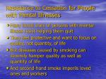 resistance to cessation for people with mental illnesses
