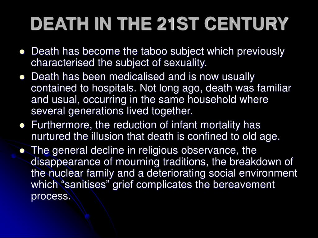 DEATH IN THE 21ST CENTURY