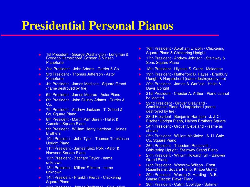 1st President - George Washington - Longman & Broderip Harpsichord; Schoen & Vinsen Pianoforte