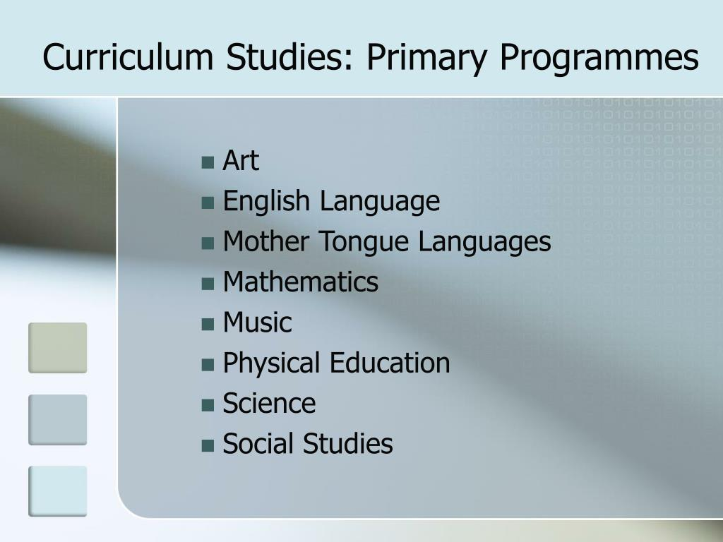 Curriculum Studies: Primary Programmes