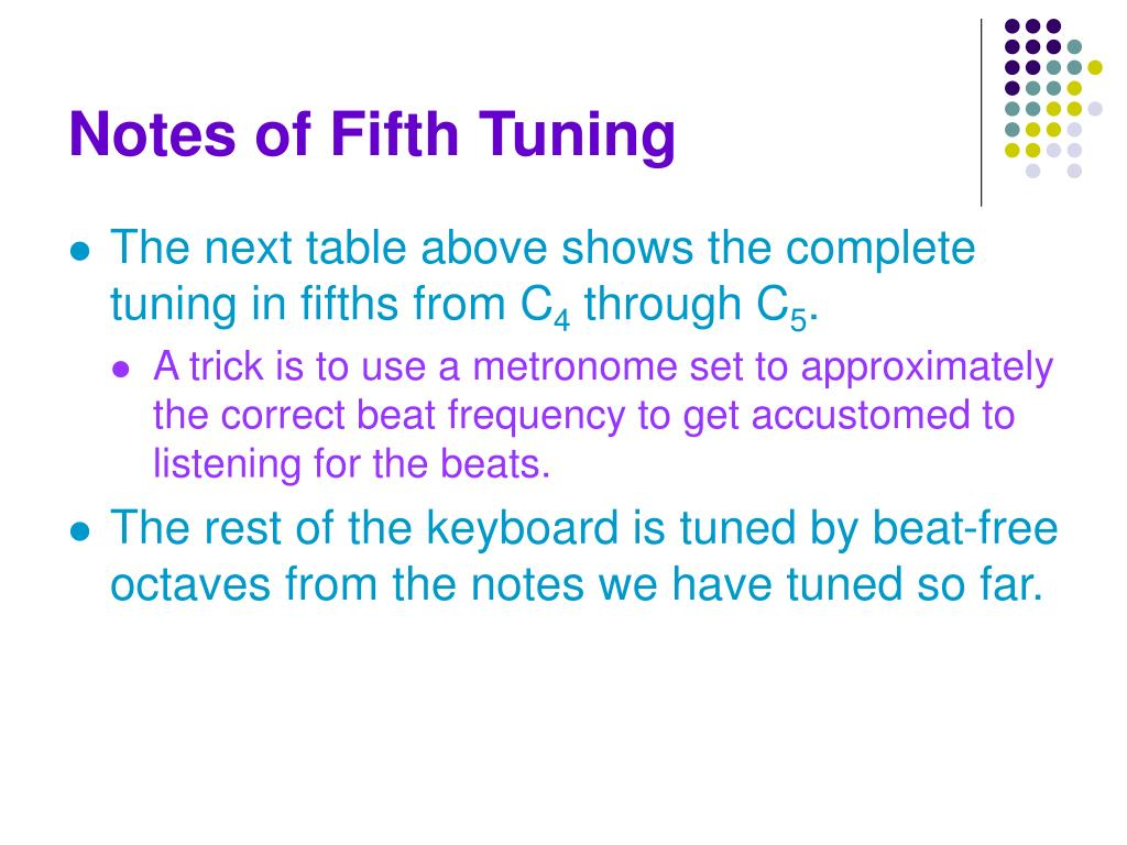 Notes of Fifth Tuning
