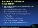 barriers to influenza vaccination